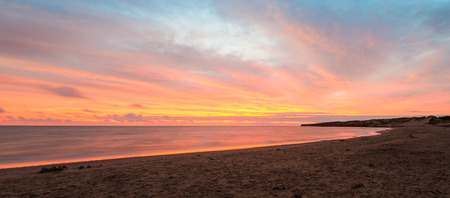 gables: Panorama of Cavendish beach at the crack of dawn  Green Gables Shore, Prince Edward Island, Canada  Stock Photo