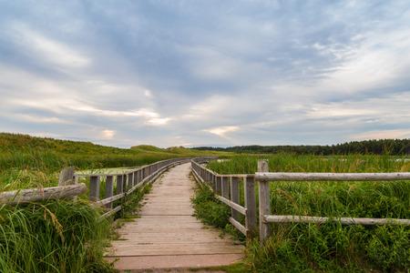 gables: A wooden bridge over a marsh in the Cavendish Dunelands  Green Gables Shore, Prince Edward Island, Canada