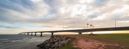 confederation: Panorama of Confederation Bridge linking Prince Edward Island with mainland New Brunswick  As viewed from the Prince Edward Island side  Stock Photo