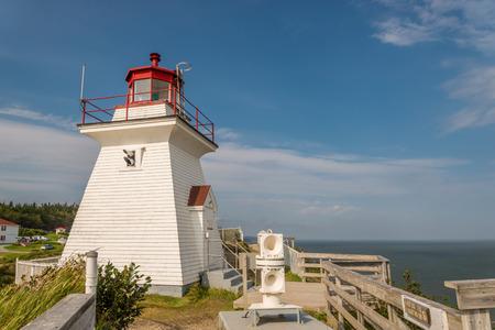 enrage: Lighthouse (Cape Enrage, New Brunswick, Canada) Stock Photo