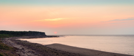 confederation: Panoramic view of sunset at Northumberland Strait near the Confederation Bridge mainland New Brunswick