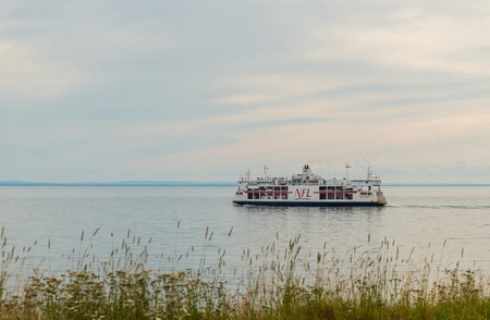 confederation: Caribou, Canada - August 13th, 2015: MV Confederation ferry crossing between PEI and Nova Scotia.  Photo taken on: August 13th, 2015 Stock Photo