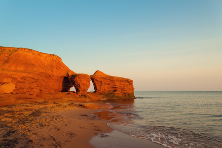 north: Ocean coast in the morning (Central Coastal Drive, Prince Edward Island, Canada)