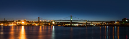 Panorama of Angus L. Macdonald Bridge that connects Halifax to Dartmouth Nova Scotia, Canada