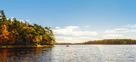 campground: Panorama of Kejimkujik lake in fall from Jeremy Bay Campground Kejimkujik National Park, Nova Scotia, Canada