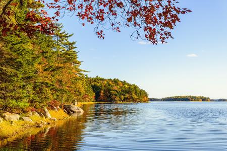 campground: Kejimkujik lake in fall from Jeremy Bay Campground Kejimkujik National Park, Nova Scotia, Canada