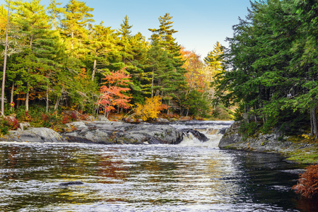 mersey: Mill Falls along the Mersey River in fall Kejimkujik National Park, Nova Scotia, Canada Stock Photo