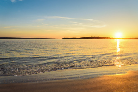 sunrise ocean: Carters Beach at Sunrise Nova Scotia, Canada Stock Photo