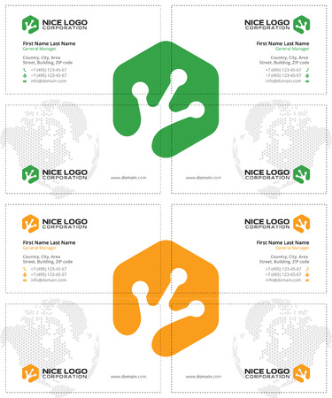 green footprint: frog footprint business cards, white green yellow colors, with a global world map