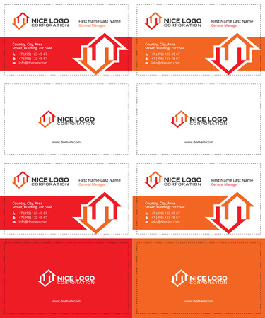 Auction and real estate business cards dark blue green and two houses red and orange colors real estate modern business cards vector reheart Choice Image