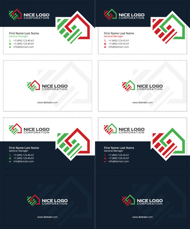 real estate business: auction and real estate business cards, dark blue, green and red colors, house cards