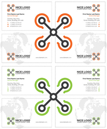 aeronautic: drone business cards, white, orange and green colors
