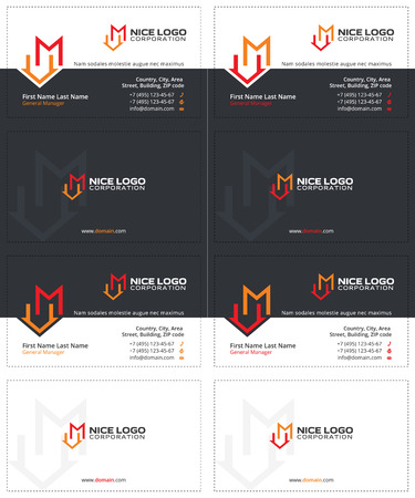 business cards with the letter m and the house, gray, yellow and red colors