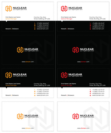 business cards with the letter n, lightning and power symbol, black, orange and red colors Illustration