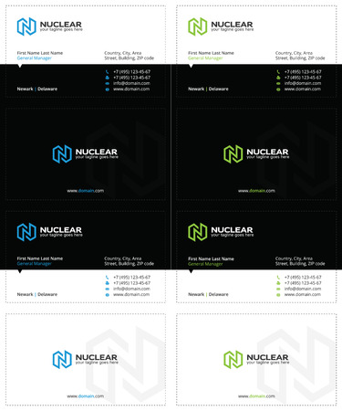 business cards with the letter n, lightning and power symbol, black, blue and green colors Illustration