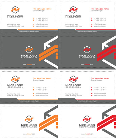 consignment: cargo colored box business cards, gray, orange and red colors