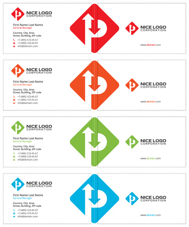 letter p rhombus business cards, road sign with arrows, white and colored