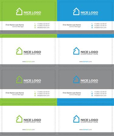 simple house business cards, gray, green and blue colors Ilustração Vetorial