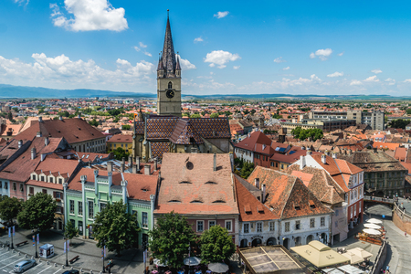 Overview of Sibiu, view from above, Transylvania, Romania, July 2017