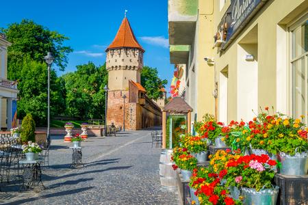 rumanian: Colorful street in Sibiu in the morning, Transylvania region, Romania, summer 2017