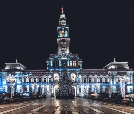 Arad City Hall at night during winter holidays, Romania