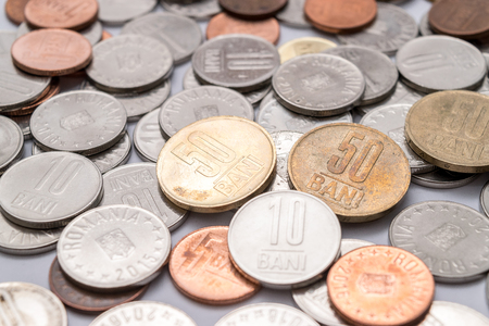 Romanian coins (Romanian currency) Stock Photo