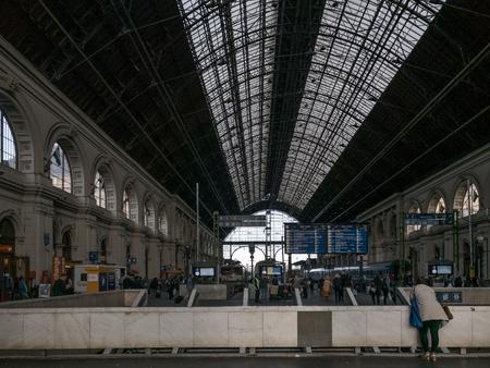 People inside the Keleti train station in Budapest, Hungary on September 2017