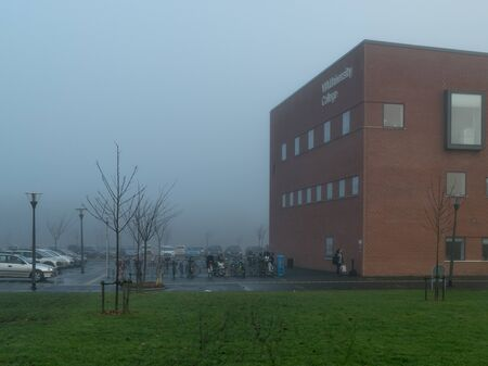 VIBORG, DENMARK -  DECEMBER 6, 2016: A foggy day at VIA University College in Viborg, capital of both Viborg municipality and Region Midtjylland.