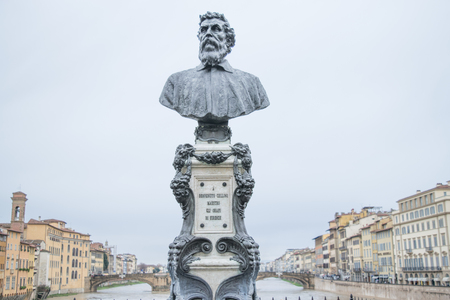 Benvenuto Cellini monument on Ponte Vecchio. He was one of the most important artists of Mannerism. Editorial