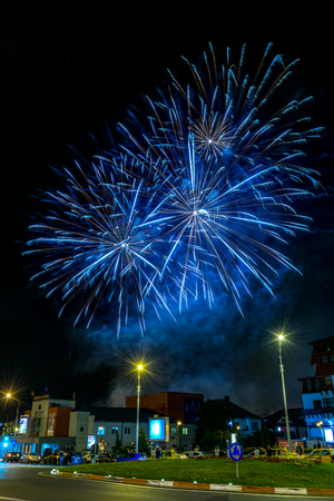 Fireworks during the closing ceremony of the FITS Festival in Sibiu, Romania. Editorial
