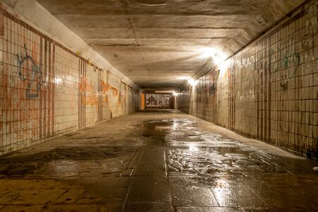 CHISINAU, MOLDOVA - 8 APRIL, 2017: Interior with graffiti of a subway from Chisinau, Moldova.