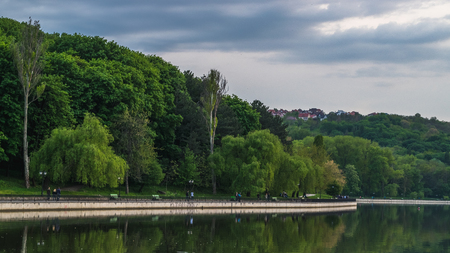 View to the Valea Morilor lake and the sorroundings in Chisinau, Moldova