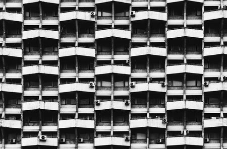 Geometrical shapes on a soviet building in Chisinau. Stock Photo