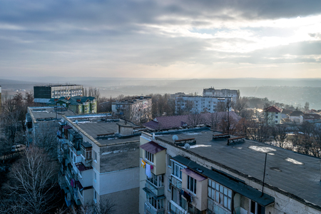 View to rooftops during dawn in Chisinau.