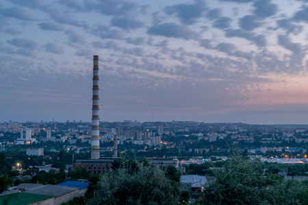 View to the city of Chisinau during dawn.