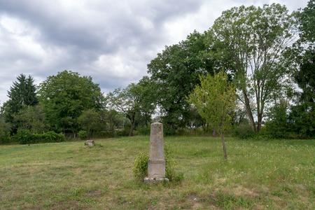 A grave in a green field, Transylvania region, Romania. 에디토리얼