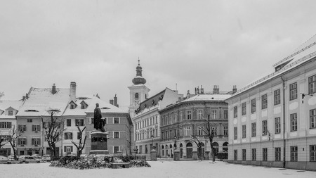 View to the historical part of the Sibiu during snow.