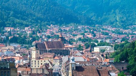 Brasov city viewed from Brasov Fortress in Romania.