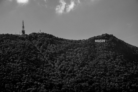 Brasov sign on the Tampa mountain in Brasov, Romania.