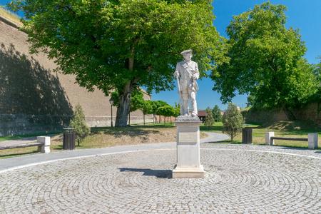 Statue inside the Citadel Alba-Carolina on a sunny summer day in Alba Iulia, Romania. 스톡 콘텐츠