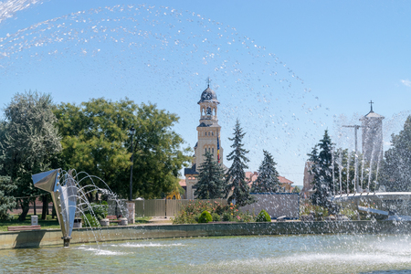 Fountain on a summer sunny day in Alba Iulia, Romania. 스톡 콘텐츠