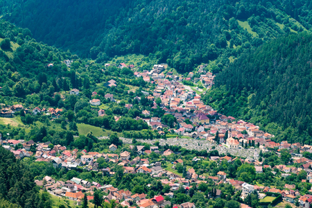 Brasov residential area at the foothill of the mountain. Stok Fotoğraf