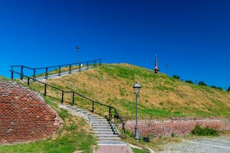 Stairs to Alba Iulia Citadel and Memorial Church Mihai Viteazul in Alba Iulia, Romania.