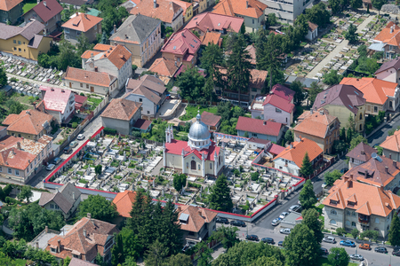Brasov residential area with churches and a cemetery. Stock Photo