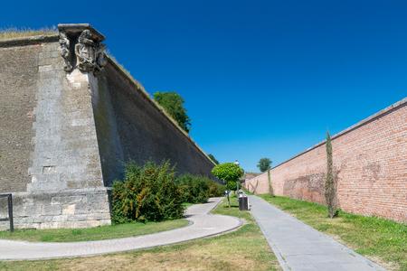 Inside the Citadel Alba-Carolina on a sunny summer day in Alba Iulia, Romania. 스톡 콘텐츠