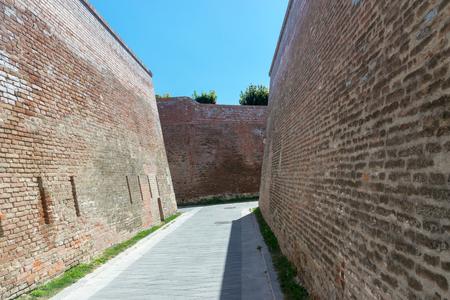 Walls inside the Citadel Alba-Carolina in Alba Iulia, Romania. 스톡 콘텐츠