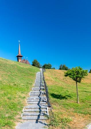Stairs to Memorial Church Mihai Viteazul in Alba Iulia, Romania.