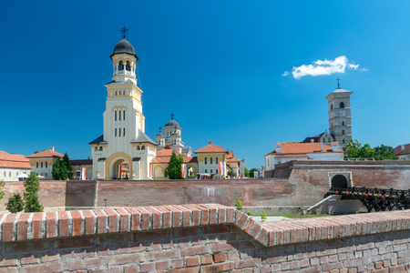 View to the Citadel Alba-Carolina on a summer sunny day in Alba Iulia, Romania.
