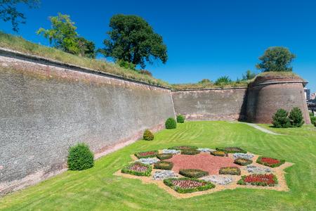 Walls of the Citadel Alba-Carolina in Alba Iulia, Romania. 스톡 콘텐츠