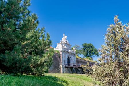The 3rd Gate of the Fortress Alba-Carolina on a sunny summer day in Alba Iulia, Romania.